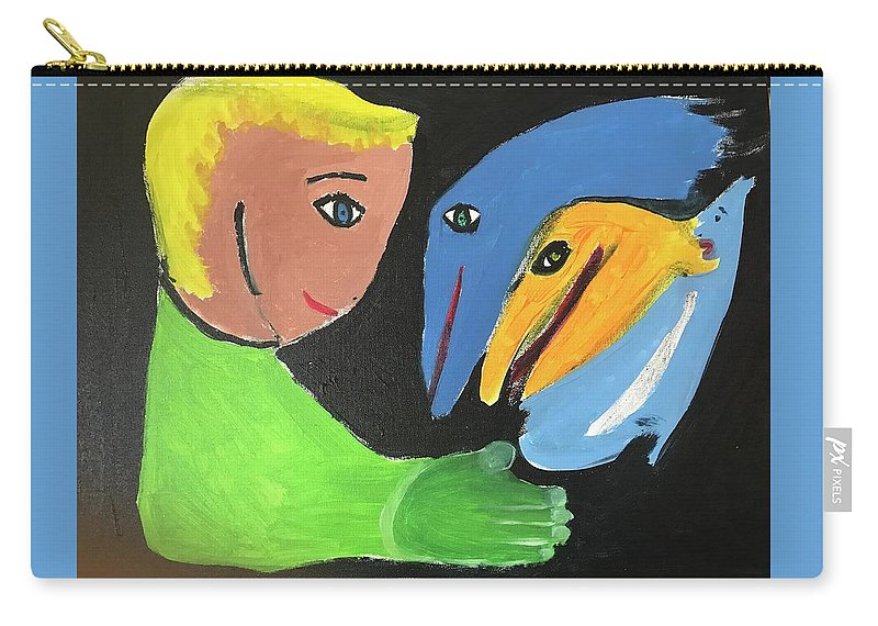 Boy And Magical Sea Creatures Carry-all Pouch featuring the painting Magical Encounter Between A Boy And Creatures Of The Sea by Margaret Jemison