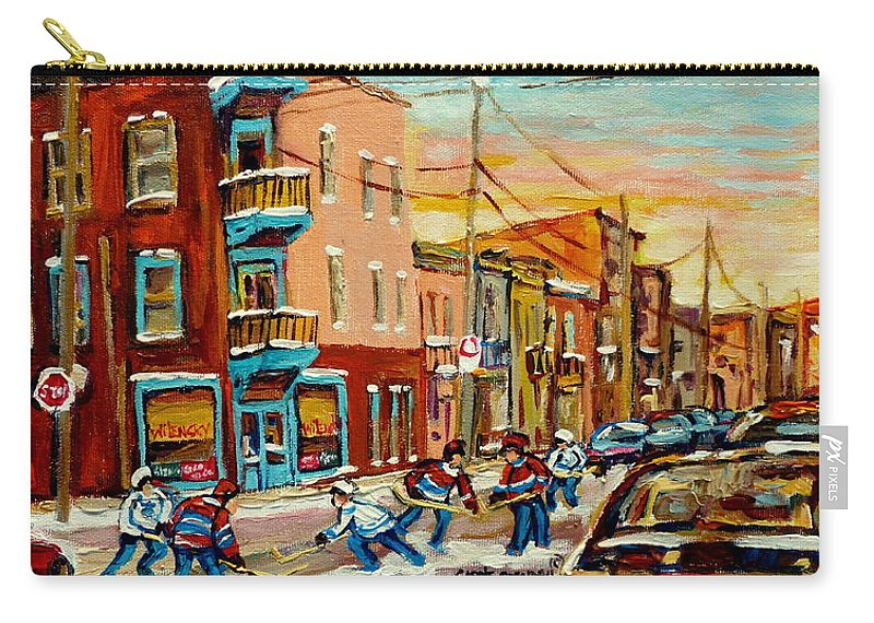 Hockey Carry-all Pouch featuring the painting Magical Hockey Game by Carole Spandau