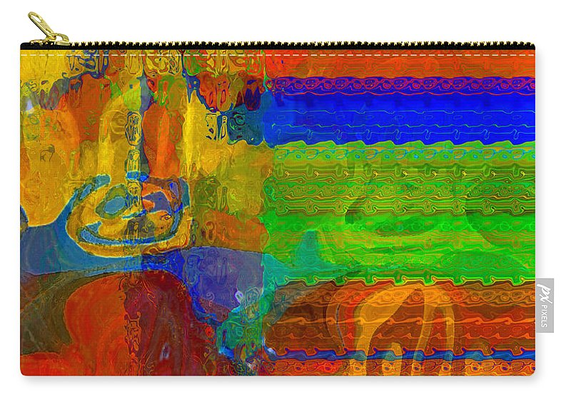 Yellow Carry-all Pouch featuring the digital art Magical Multi by Ruth Palmer