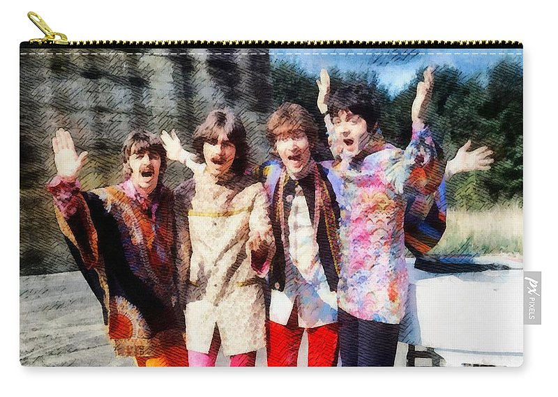 Hollywood Carry-all Pouch featuring the painting Magical Mystery Tour, The Beatles by Esoterica Art Agency