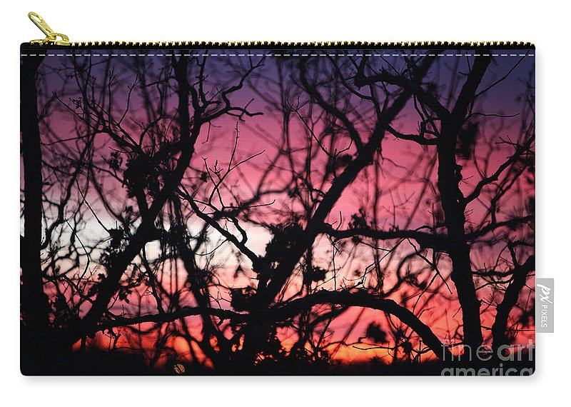 Sunset Carry-all Pouch featuring the photograph Magnificent Sunset And Trees by Nadine Rippelmeyer