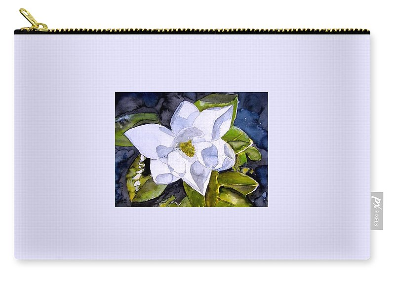 Magnolia Carry-all Pouch featuring the painting Magnolia 2 Flower Art by Derek Mccrea
