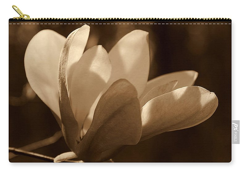 Magnolia Carry-all Pouch featuring the photograph Magnolia Blossom Bw by Susanne Van Hulst