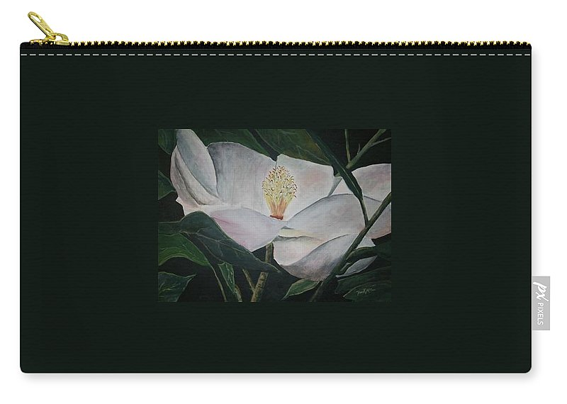 Oils Carry-all Pouch featuring the painting Magnolia Flower Oil Painting by Derek Mccrea