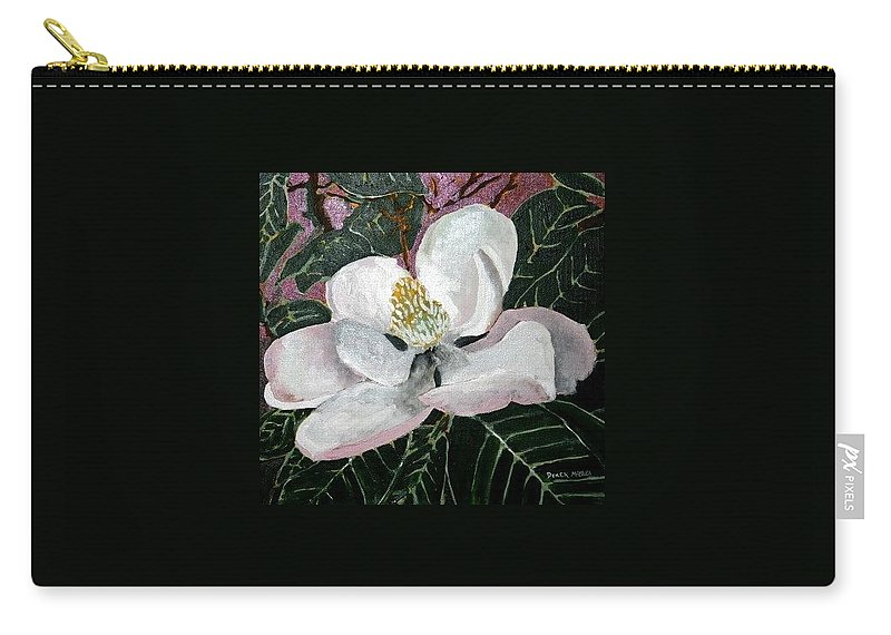 Acrylic Carry-all Pouch featuring the painting Magnolia Flower Painting by Derek Mccrea