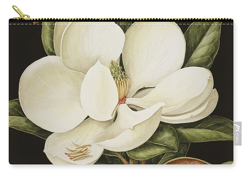 Still-life Carry-all Pouch featuring the painting Magnolia Grandiflora by Jenny Barron