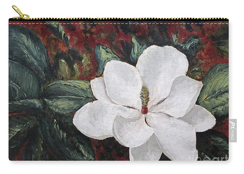 Flower Carry-all Pouch featuring the painting Magnolia by Todd Blanchard