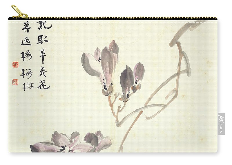 Magnolia Carry-all Pouch featuring the painting Magnolia by Zhang Daqian