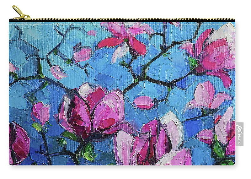 Magnolias For Ever Carry-all Pouch featuring the painting Magnolias For Ever by Mona Edulesco