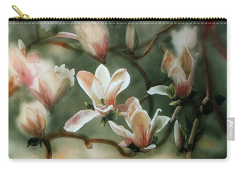 Japanese Tulip Tree Carry-all Pouch featuring the painting Magnolias In Bloom by Maryann Boysen