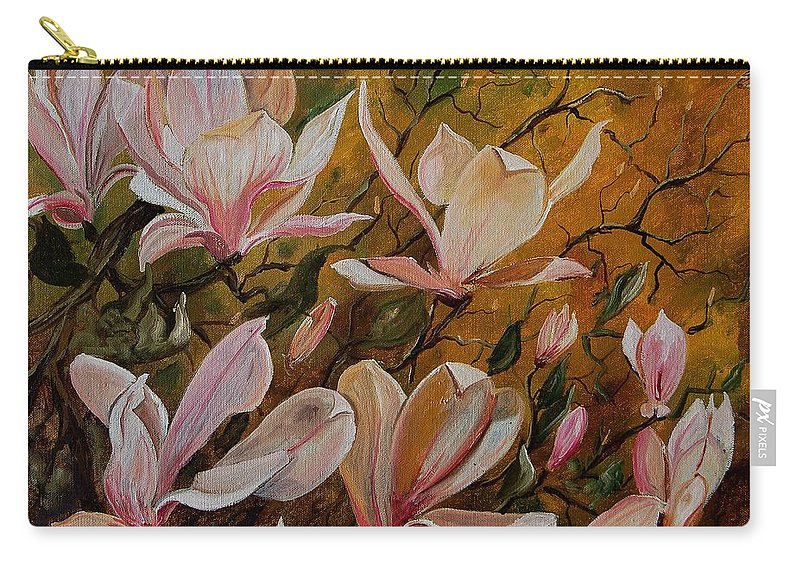 Flowers Carry-all Pouch featuring the painting Magnolias by Pol Ledent