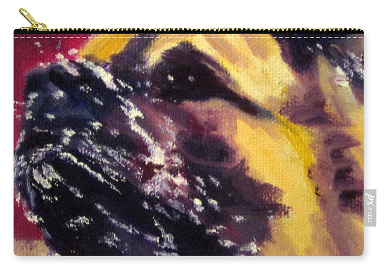 Dog Akita Working Snow Animal Pet Water  Carry-all Pouch featuring the painting Magnum It's A Snow Day by Terry Chacon