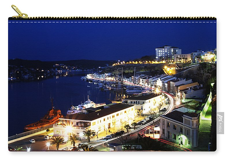 Mediterranean Carry-all Pouch featuring the photograph Mahon Harbour At Night by Pedro Cardona Llambias