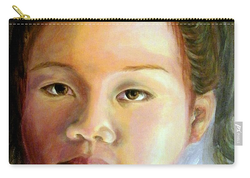 Portrait Of Asian Girl Carry-all Pouch featuring the painting Mai Ling by Em Scott