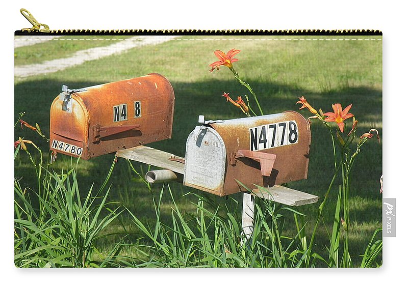 Mailboxes Carry-all Pouch featuring the photograph Mail Boxes by Diane Greco-Lesser
