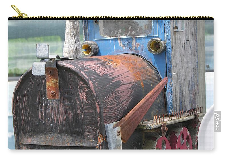 Blue Carry-all Pouch featuring the photograph Mail Truck by Diane Greco-Lesser