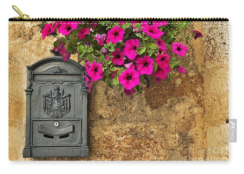 Mailbox Carry-all Pouch featuring the photograph Mailbox With Petunias by Silvia Ganora