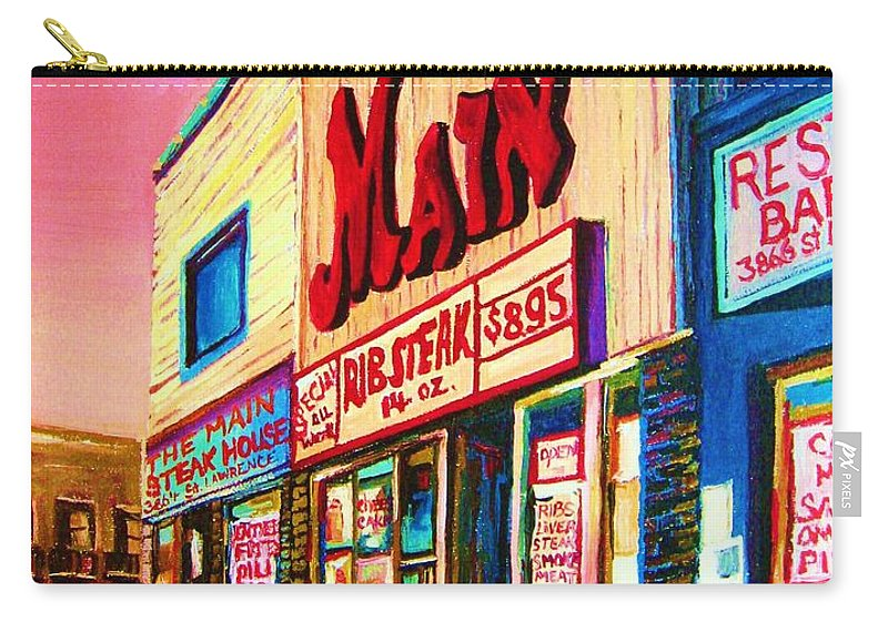 Montreal Carry-all Pouch featuring the painting Main Steakhouse Blvd.st.laurent by Carole Spandau