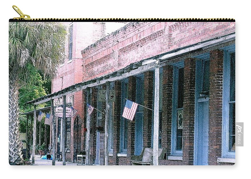 Florida Carry-all Pouch featuring the photograph Main Street Micanopy Florida by Nelson Strong