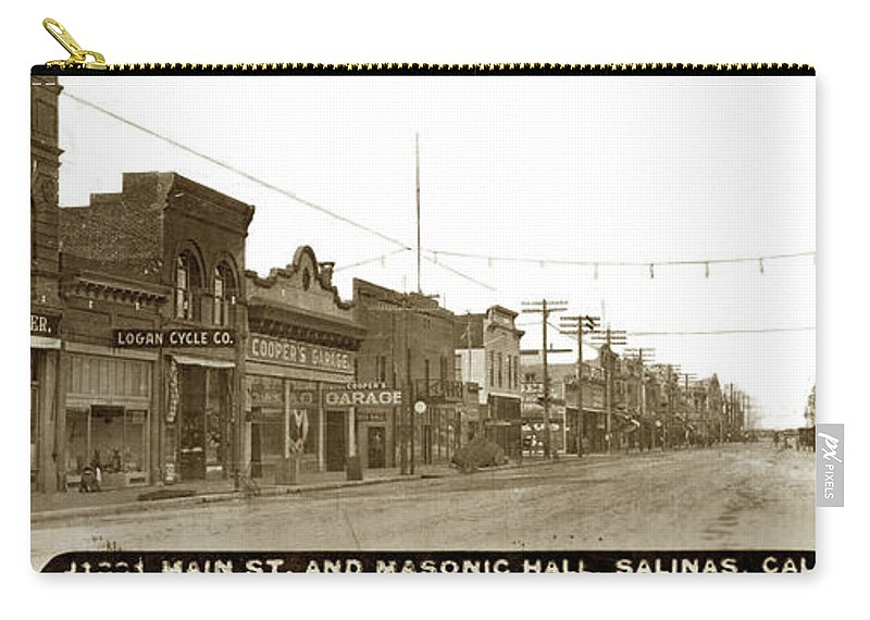 Main Street Carry-all Pouch featuring the photograph Main Street, Salinas Circa 1910 by California Views Archives Mr Pat Hathaway Archives