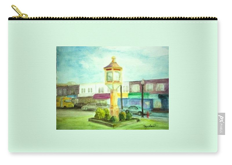 Clock Carry-all Pouch featuring the painting Main Street by Sheila Mashaw