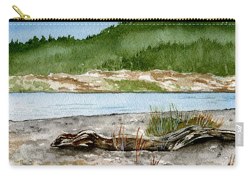 Landscape Carry-all Pouch featuring the painting Maine Beach Wood by Brenda Owen