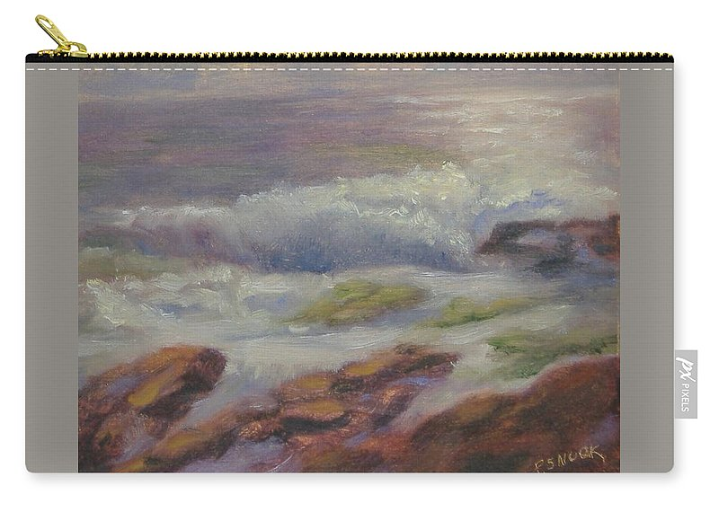 Seascape Carry-all Pouch featuring the painting Maine Coast by Pat Snook
