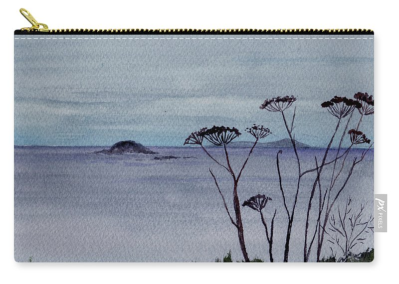 Landscape Watercolor Sea Ocean Sky Cloudy Flower Weed Carry-all Pouch featuring the painting Maine Moody Distance by Brenda Owen