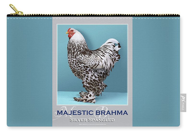 Poultry Carry-all Pouch featuring the digital art Majestic Brahma Silver Spangled by Sigrid Van Dort
