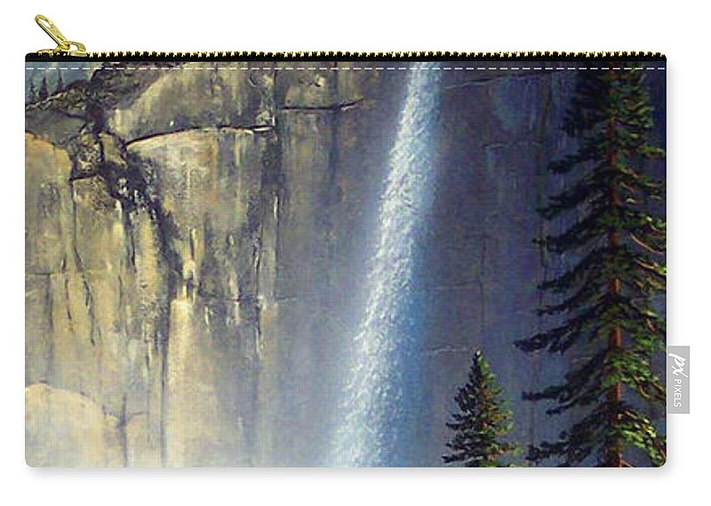 Landscape Carry-all Pouch featuring the painting Majestic Falls by Frank Wilson