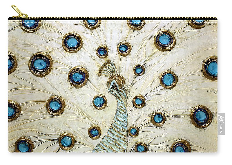 Peacock Carry-all Pouch featuring the painting Majestic by Susanna Shap