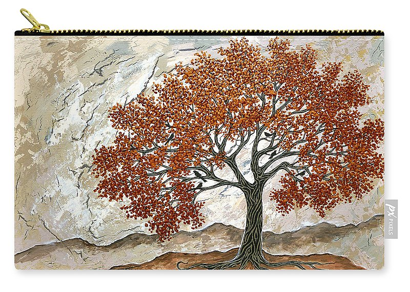 Tree With Birds Carry-all Pouch featuring the painting Majestic Tree by Stephen Grundy