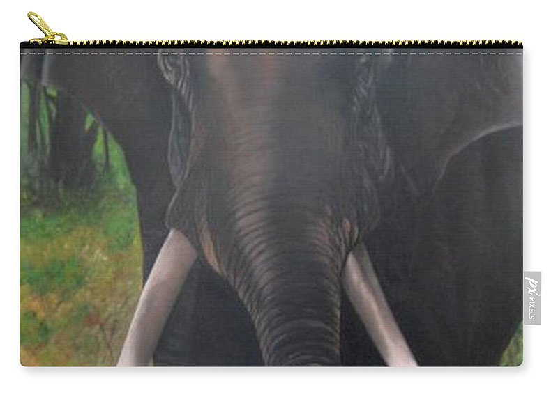Elephant Carry-all Pouch featuring the painting Majestic by Usha Rai