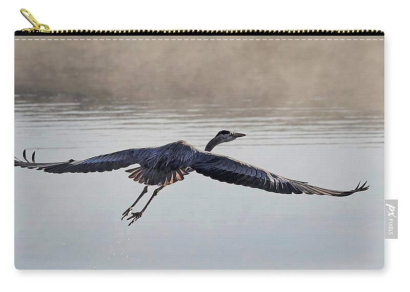 Great Blue Heron Carry-all Pouch featuring the photograph Majesty In Motion by Andrew Wilson