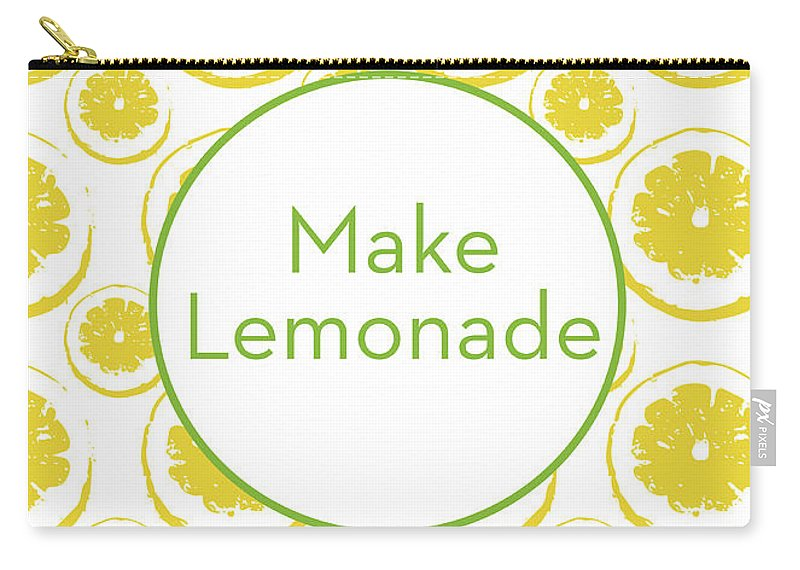 Lemons Carry-all Pouch featuring the mixed media Make Lemonade 3- Art By Linda Woods by Linda Woods