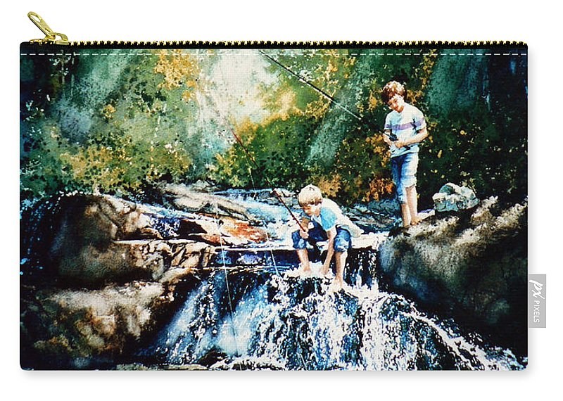 Boys Fishing Creek Print Carry-all Pouch featuring the painting Making Memories by Hanne Lore Koehler