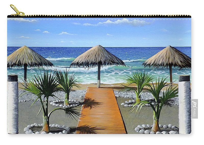 Greece Carry-all Pouch featuring the painting Makry Gialos Beach by James R Hahn