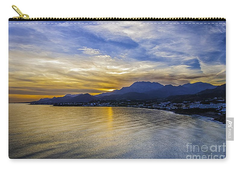 Makry Carry-all Pouch featuring the photograph Makrygialos Sunset by Antony McAulay