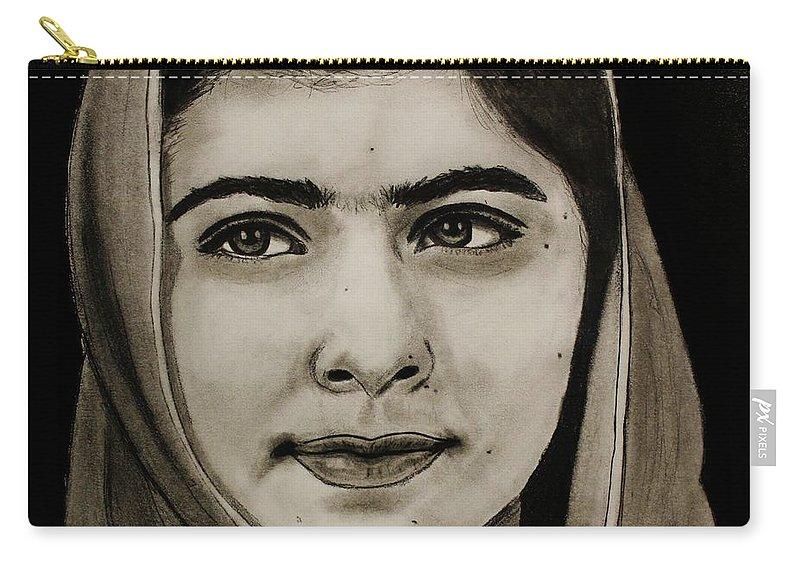 Malala Yousafzai Carry-all Pouch featuring the drawing Malala Yousafzai- Teen Hero by Michael Cross