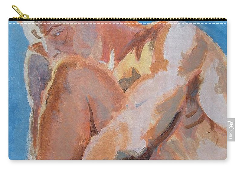 Male Nude Carry-all Pouch featuring the painting Male Nude Painting by Mike Jory