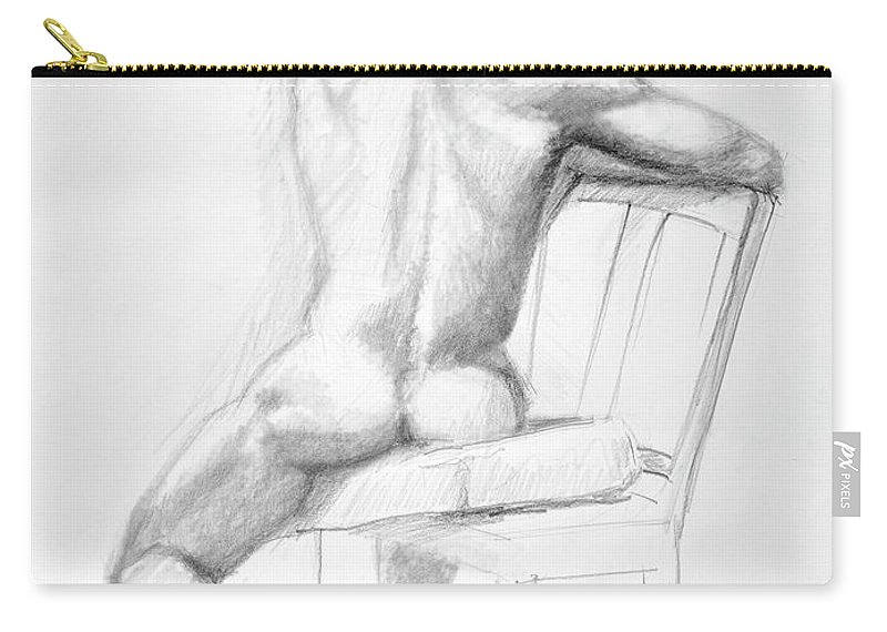 Male Carry-all Pouch featuring the drawing Male Nude With Chair by Keith Burgess