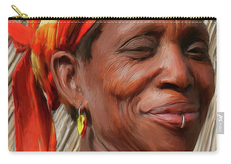 African Carry-all Pouch featuring the painting Maleea by Dominic Piperata