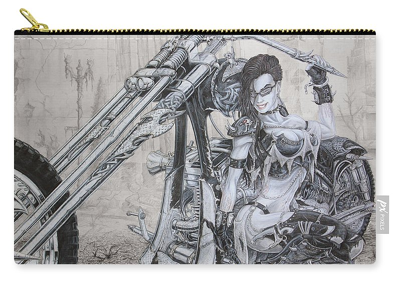 #bike Carry-all Pouch featuring the drawing Malice by Kristopher VonKaufman