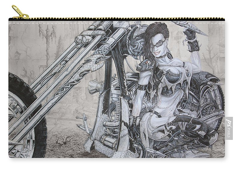 Bike Carry-all Pouch featuring the drawing Malice by Kristopher VonKaufman
