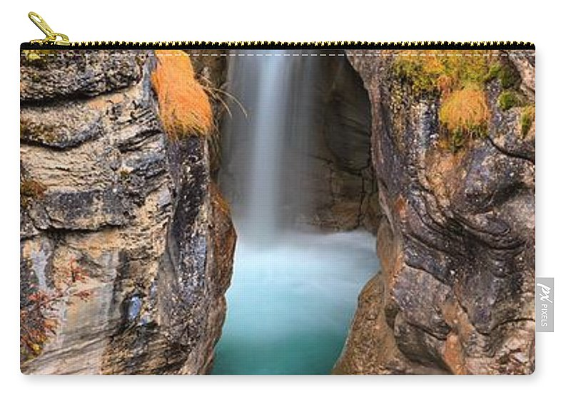 Maligne Canyon Carry-all Pouch featuring the photograph Maligne Canyon Falls Vertical Panorama by Adam Jewell