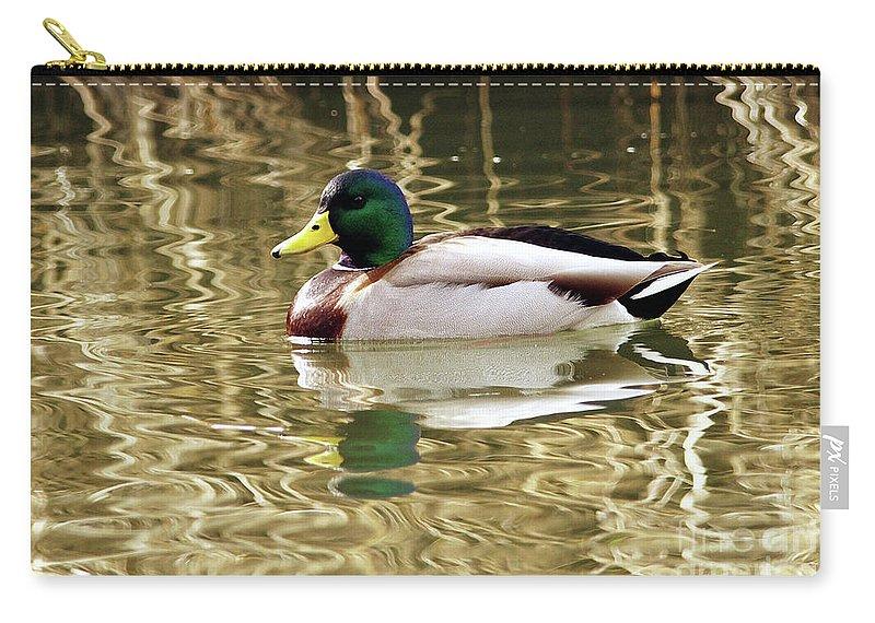 Mallard Carry-all Pouch featuring the photograph Mallard Drake by Sharon Talson