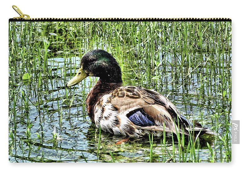 Animal Carry-all Pouch featuring the photograph Mallard Duck 1 by John Trommer