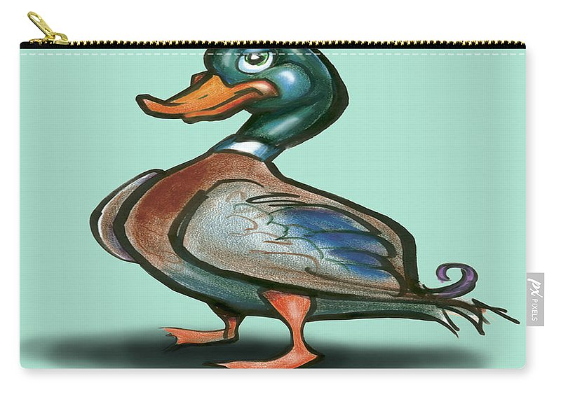 Duck Carry-all Pouch featuring the digital art Mallard Duck by Kevin Middleton