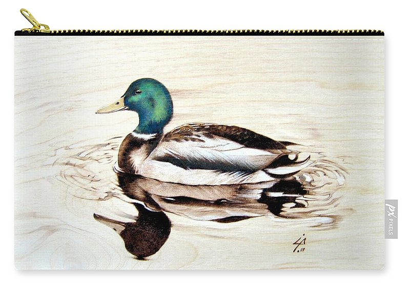 Pyrography Carry-all Pouch featuring the pyrography Mallard by Ilaria Andreucci
