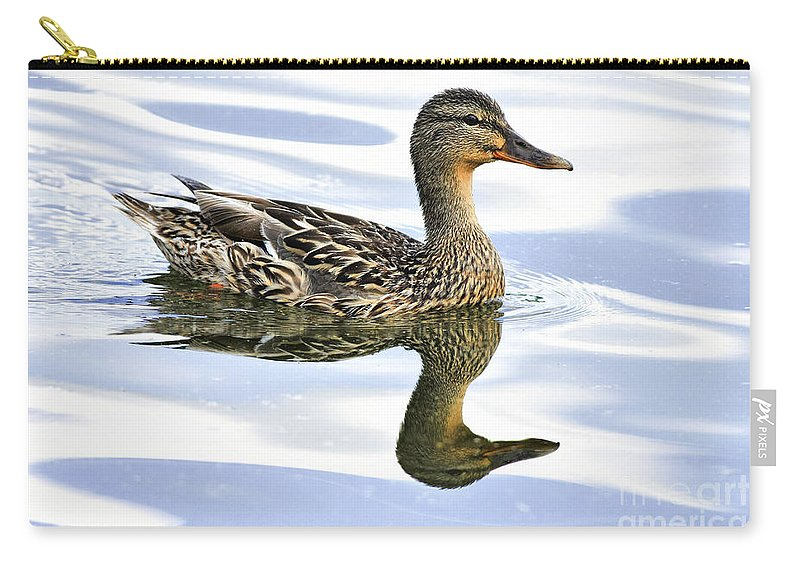 Bird Carry-all Pouch featuring the photograph Mallard Reflections by Deborah Benoit